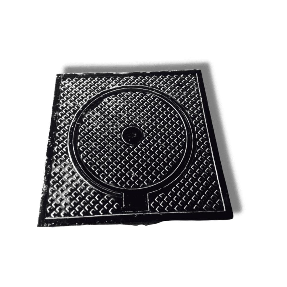 Nắp hố ga gang xám khung vuông dương, nắp tròn