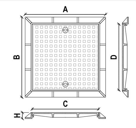 Nắp hố ga composite khung chữ nhật nắp chữ nhật