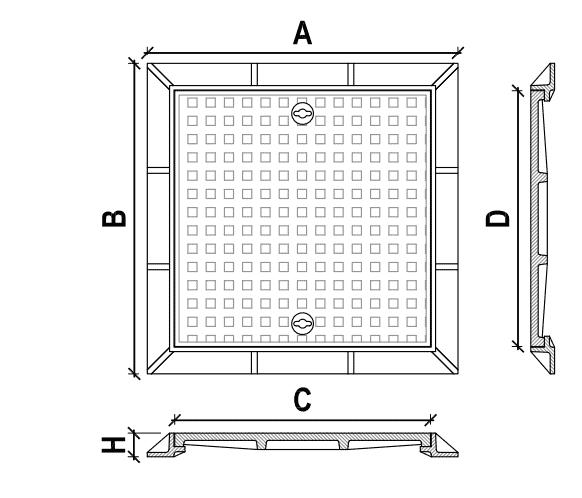 Nắp hố ga gang cầu khung vuông dương, nắp vuông