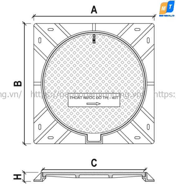 Nắp hố ga composite khung vuông âm, nắp tròn