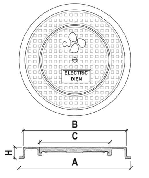 Nắp hố ga gang cầu khung tròn dương, nắp tròn